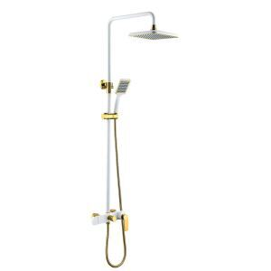 Modern Simple Style White Bathroom Shower Faucet Square Sprinkler Wall Mounted 3 Hole Single Handle Golden Handle