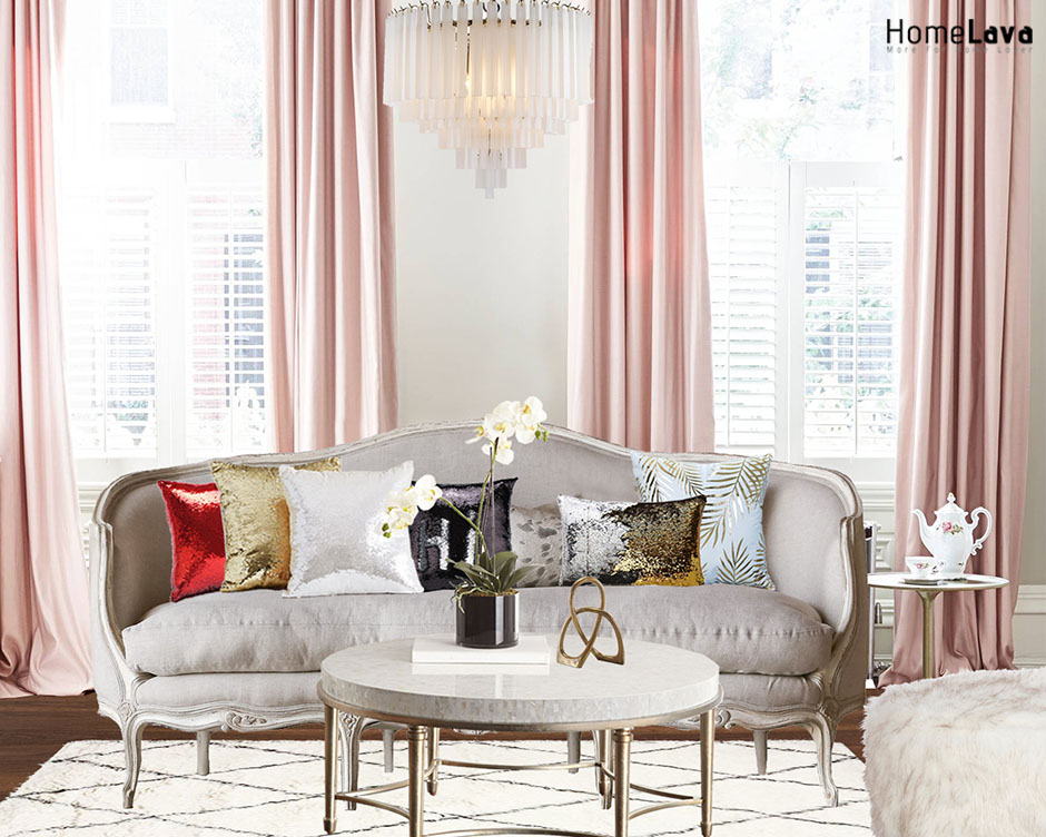 Pink french living room