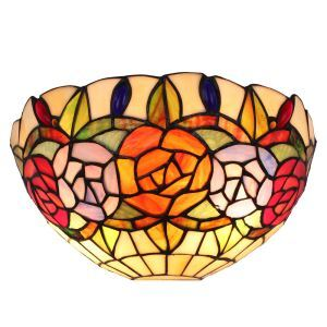 12inch European Pastoral Retro Style Wall Light Colorful Flower Pattern Shade Bedroom Living Room Dining Room Kitchen Lights