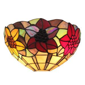 12inch European Pastoral Retro Style Sconce Colorful Flower Pattern Shade Bedroom Living Room Dining Room Kitchen Lights