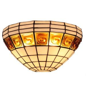 12inch European Pastoral Retro Style Wall Light Gold Pattern White Shade Bedroom Living Room Dining Room Kitchen Lights