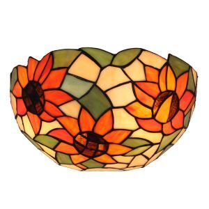 12inch European Pastoral Retro Style Wall Light Sunflower Pattern Shade Bedroom Living Room Dining Room Kitchen Lights