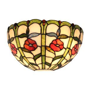 12inch European Pastoral Retro Style Wall Light Little Red Flower Pattern Shade Bedroom Living Room Dining Room Kitchen Lights