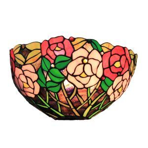 12inch European Pastoral Retro Style Wall Light Colorful Rose Pattern Shade Bedroom Living Room Dining Room Kitchen Lights