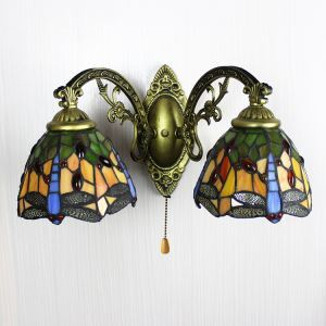 (In Stock) Two-light Country Style 16 Inch Wide Tiffany Wall Sconce with Dragonfly Pattern