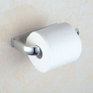 Modern Contemporary Chrome Finish Brass Toilet Roll Holder