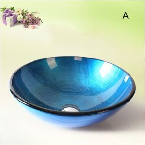 Modern Fashion Coloful Round Tempered Glass Sink (Faucet Not Included)
