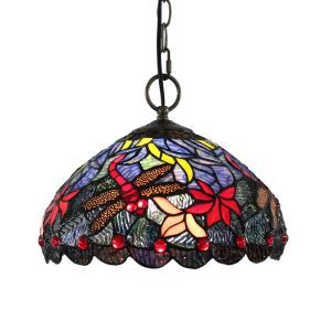 12inch European Pastoral Retro Style Pendant Light Red Dragonfly Pattern Glass Shade Bedroom Living Room Dining Room Kitchen Lights
