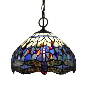 12inch European Pastoral Retro Style Pendant Light Purple Dragonfly Patter Glass Shade Bedroom Living Room Dining Room Kitchen Lights