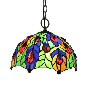 12inch European Pastoral Retro Style Pendant Light Colorful Leaves Pattern Glass Shade Bedroom Living Room Dining Room Kitchen Lights