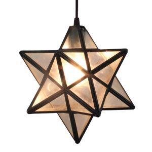 12inch European Pastoral Retro Style Pendant Light Three-dimensional Hexagram Glass Shade Bedroom Living Room Dining Room Kitchen Lights