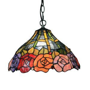 12inch European Pastoral Retro Style Pendant Light Colorful Rose Pattern Glass Shade Bedroom Living Room Dining Room Kitchen Lights