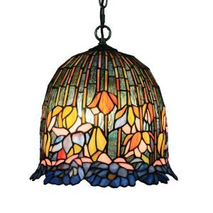 12inch European Pastoral Retro Style Pendant Light Colorful Flower Pattern Glass Shade Bedroom Living Room Dining Room Kitchen Lights