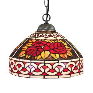12inch European Pastoral Retro Style Pendant Light Red Rose Pattern Glass Shade Bedroom Living Room Dining Room Kitchen Lights