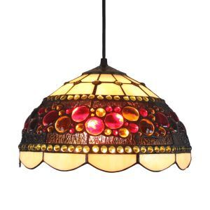 12inch European Pastoral Retro Style Pendant Light Colorful Round Beads Glass Shade Bedroom Living Room Dining Room Kitchen Lights