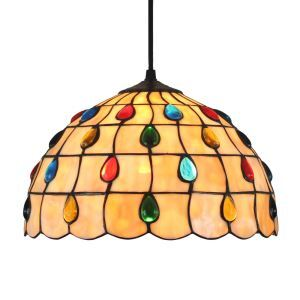 12inch European Pastoral Retro Style Pendant Light Colorful Raindrops Pattern Glass Shade Bedroom Living Room Dining Room Kitchen Lights