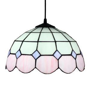 12inch European Pastoral Retro Style Pendant Light Pink and White Pattern Glass Shade Bedroom Living Room Dining Room Kitchen Lights