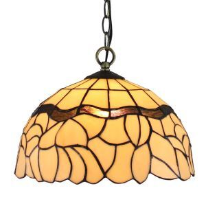 12inch European Pastoral Retro Style Pendant Light Light Yellow Pattern Glass Shade Bedroom Living Room Dining Room Kitchen Lights