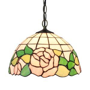 12inch European Pastoral Retro Style Pendant Light Pink Rose Pattern Glass Shade Bedroom Living Room Dining Room Kitchen Lights