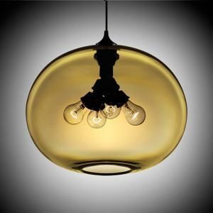 Modern Glass Pendant Lights Colorful Concave Oval with 4 Lights Dining Room Living Room Bedroom Ceiling Lights