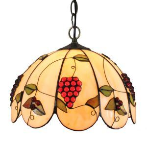 12inch European Pastoral Retro Style Pendant Light Grape Pattern Glass Shade Bedroom Living Room Dining Room Kitchen Lights