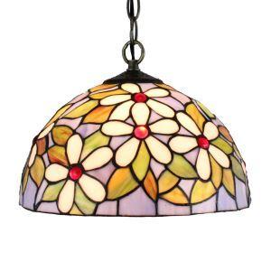 12inch European Pastoral Retro Style Pendant Light White Flower Pattern Glass Shade Bedroom Living Room Dining Room Kitchen Lights
