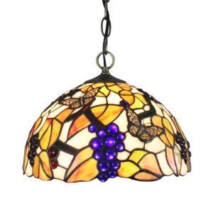 12inch European Pastoral Retro Style Pendant Light Butterfly and Grape Pattern Glass Shade Bedroom Living Room Dining Room Kitchen Lights