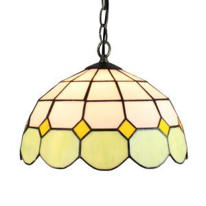 12inch European Pastoral Retro Style Pendant Light Mesh Pattern Green and White Glass Shade Bedroom Living Room Dining Room Kitchen Lights