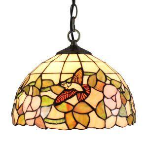 12inch European Pastoral Retro Style Pendant Light Hummingbird Gathering Flowers Pattern Glass Shade Bedroom Living Room Dining Room Kitchen Lights