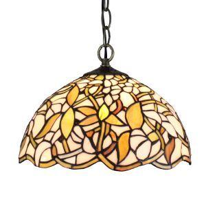 12inch European Pastoral Retro Style Pendant Light Gardenia Flower Pattern Glass Shade Bedroom Living Room Dining Room Kitchen Lights