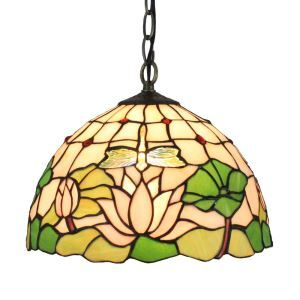 12inch European Pastoral Retro Style Pendant Light Dragonfly and Lotus Pattern Glass Shade Bedroom Living Room Dining Room Kitchen Lights