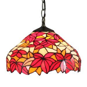 12inch European Pastoral Retro Style Pendant Light Crimson Maple Leaf Pattern Glass Shade Bedroom Living Room Dining Room Kitchen Lights