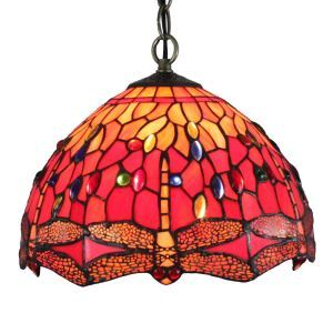 12inch European Pastoral Retro Style Pendant Light Dragonfly Pattern Glass Shade Bedroom Living Room Dining Room Kitchen Lights