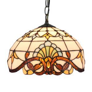 12inch European Pastoral Retro Style Pendant Light Colorful Pattern Glass Shade Bedroom Living Room Dining Room Kitchen Lights