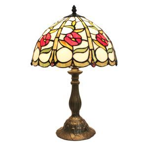 12inch European Pastoral Retro Style Table Lamp Little Red Flower Pattern Shade Bedroom Living Room Dining Room Lights