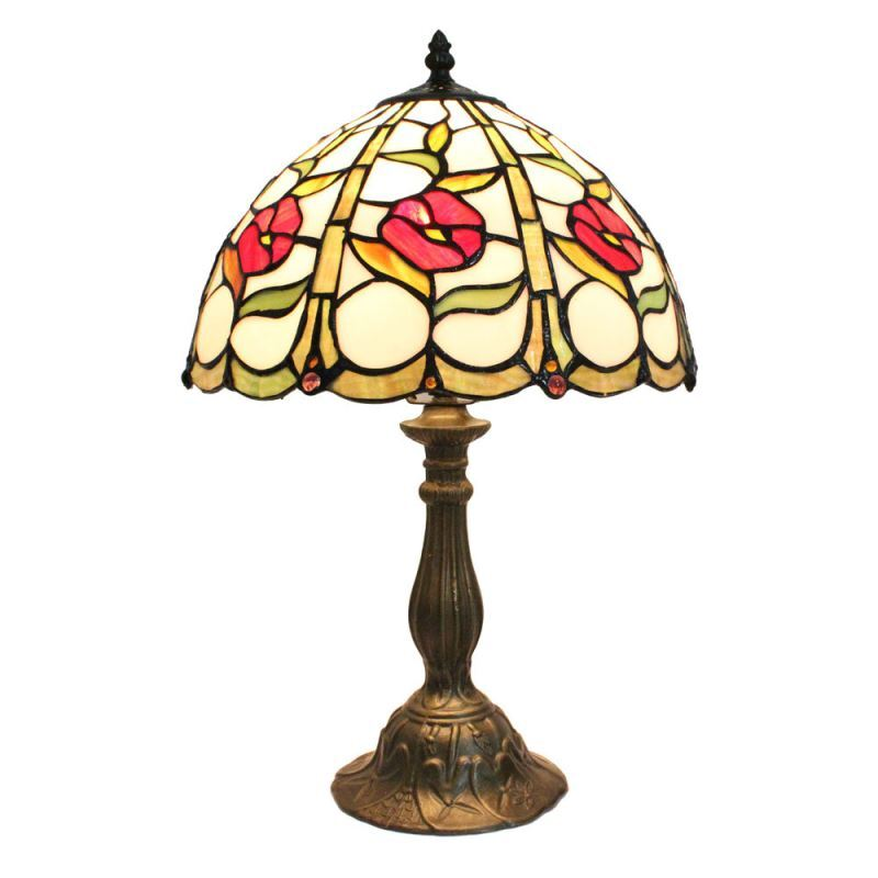 12inch european pastoral retro style table lamp little red flower pattern shade bedroom living. Black Bedroom Furniture Sets. Home Design Ideas
