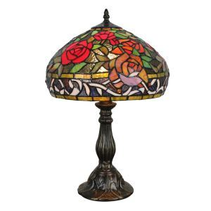 12inch European Pastoral Retro Style Table Lamp Colorful Rose Pattern Shade Bedroom Living Room Dining Room Lights