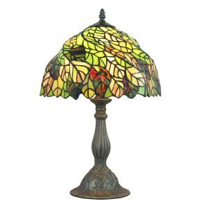 12inch European Pastoral Retro Style Table Lamp Colorful Leaves Pattern Shade Bedroom Living Room Dining Room Lights