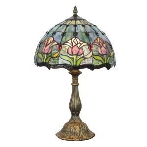 12inch European Pastoral Retro Style Table Lamp Tulip Pattern Shade Bedroom Living Room Dining Room Lights
