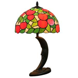 12inch European Pastoral Retro Style Table Lamp Red Apple Pattern Shade Bedroom Living Room Dining Room Lights