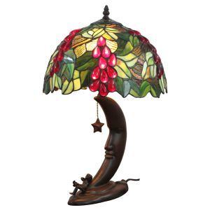 12inch European Pastoral Retro Style Table Lamp Grape Pattern Shade Bedroom Living Room Dining Room Lights
