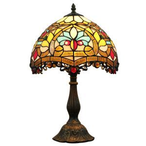12inch European Pastoral Retro Style Table Lamp Colorful Pattern Shade Bedroom Living Room Dining Room Lights