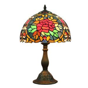 12inch European Pastoral Retro Style Table Lamp Red Flower Pattern Shade Bedroom Living Room Dining Room Lights
