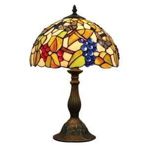 12inch European Pastoral Retro Style Table Lamp Butterfly and Grape Pattern Shade Bedroom Living Room Dining Room Lights
