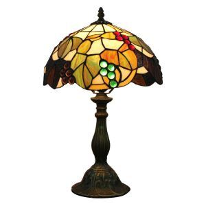 12inch European Pastoral Retro Style Table Lamp Colorful Grape Pattern Shade Bedroom Living Room Dining Room Lights