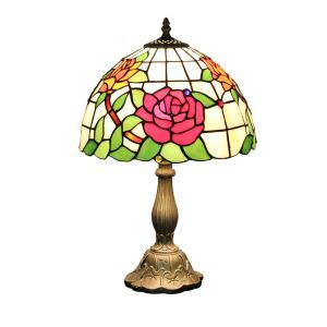 12inch European Pastoral Retro Style Table Lamp Rose Pattern Shade Bedroom Living Room Dining Room Lights