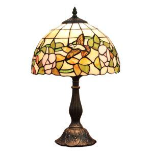 12inch European Pastoral Retro Style Table Lamp Hummingbird Gathering Flower Pattern Shade Bedroom Living Room Dining Room Lights