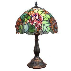12inch European Pastoral Retro Style Table Lamp Colorful Red Grapes Pattern Shade Bedroom Living Room Dining Room Lights