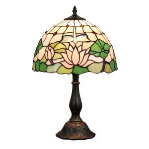 12inch European Pastoral Retro Style Table Lamp Lotus Pattern Shade Bedroom Living Room Dining Room Lights