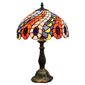 12inch European Pastoral Retro Style Table Lamp Phoenix Tail Feather Pattern Shade Bedroom Living Room Dining Room Lights